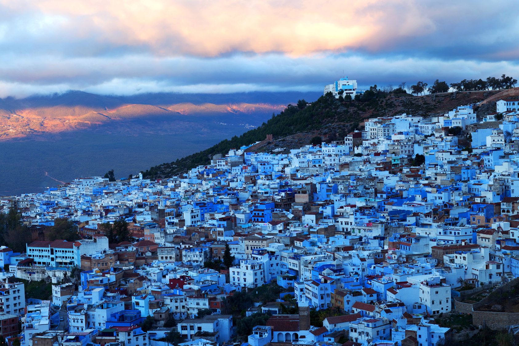 Medina of Chefchaouen at twilight, Morocco