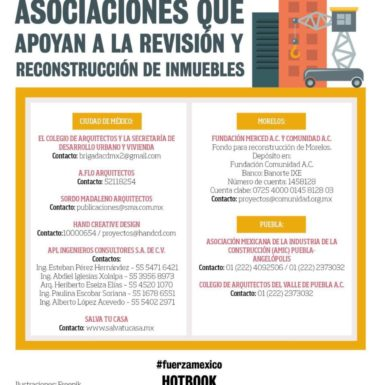 Asociaciones que apoyan a la revisión y reconstrucción de inmuebles