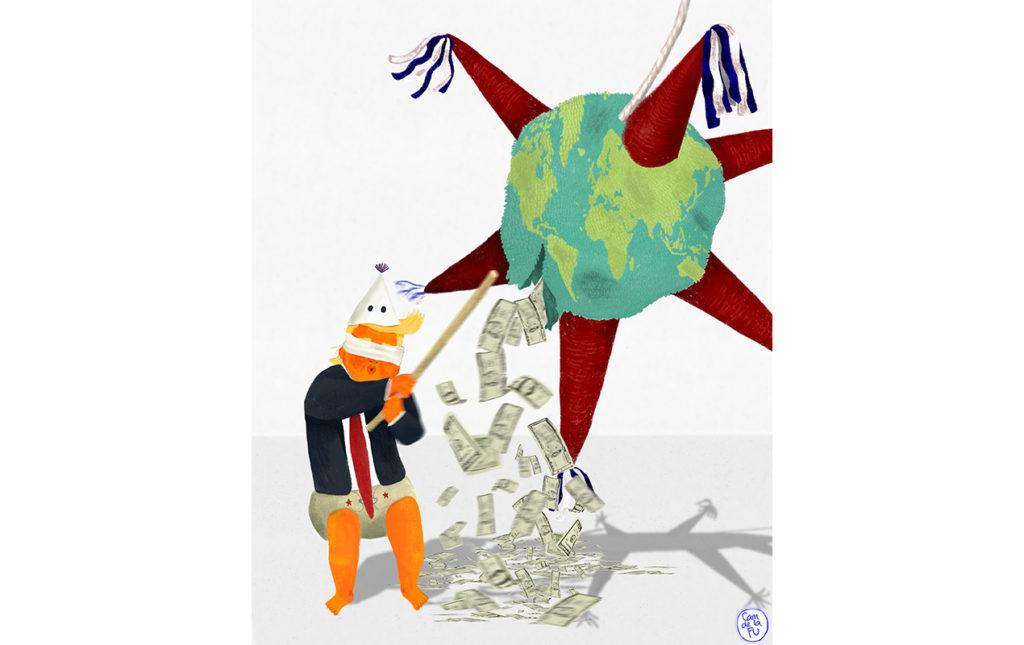 ¿El fin de la globalización se acerca? - ilustración donald trump piñata mundo dinero