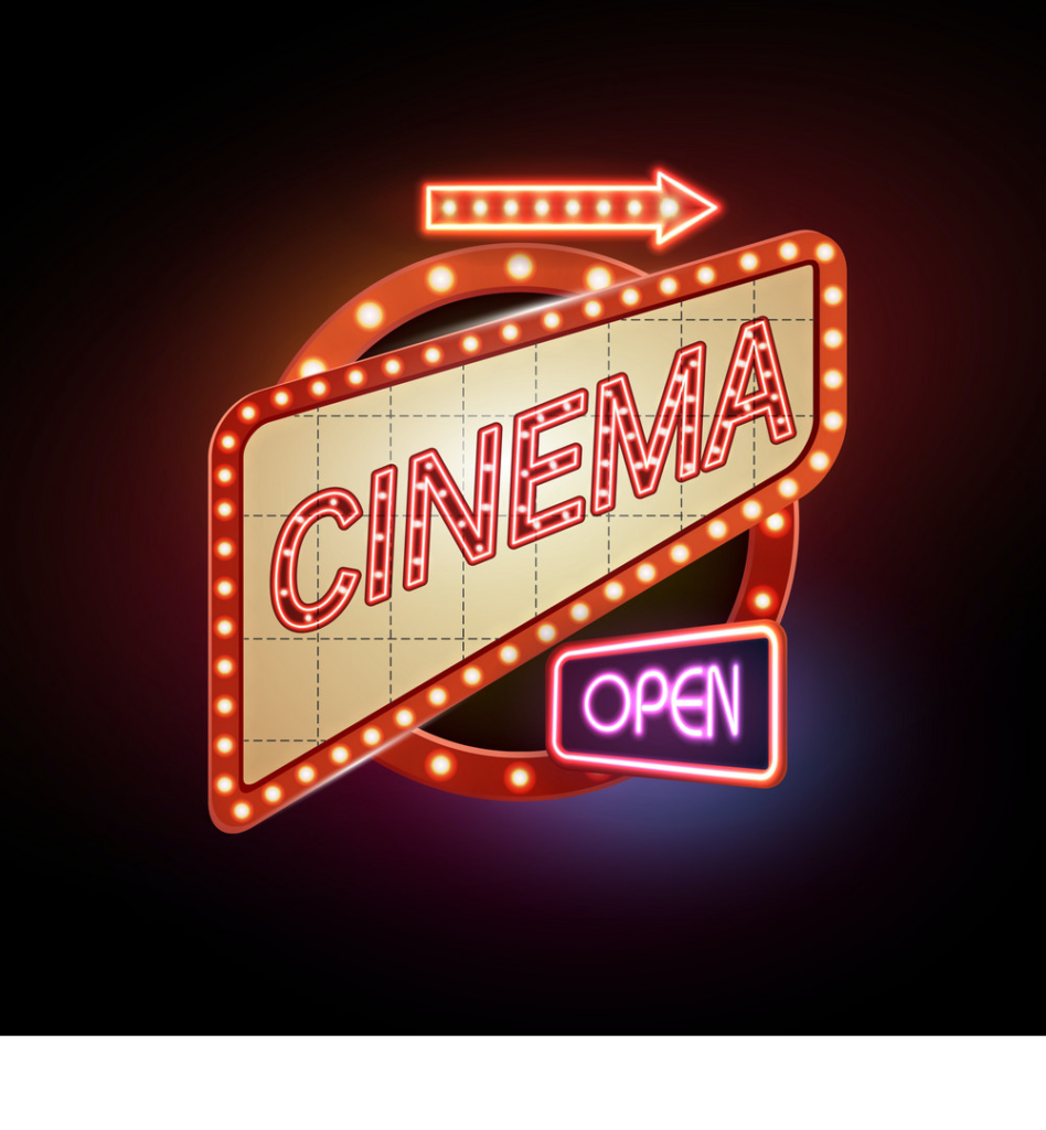 Sal de la rutina y vive una noche única en el Autocinema Platino Cinemex presentado por AT&T #CAMBIAELJUEGO - neon-sign-cinema-vector-3257270