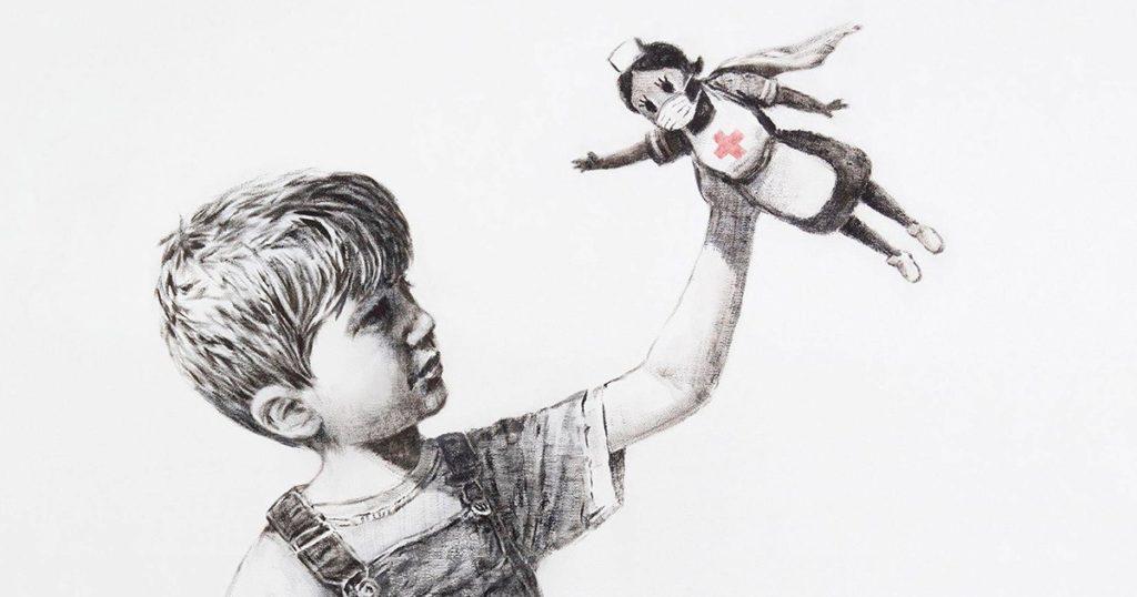 Banksy nos presenta a los verdaderos héroes y heroínas del siglo XXI en Game Changer - Banksy Game Changer Europa League Juventus Napoli psg Bayern vacuna covid-19 masters 2021 portada